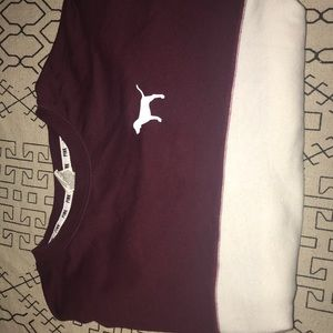 Victorias secret PINK sweater white and maroon